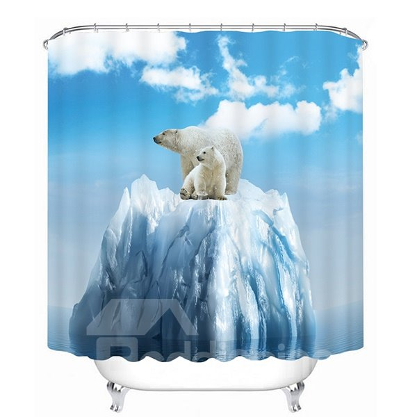 Cute Polar Bears Print 3D Bathroom Shower Curtain