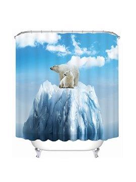 Cute Polar Bears Print 3D Bathroom Shower Curtain