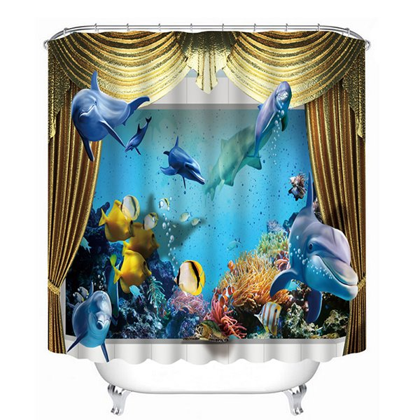 Vivid Great Dolphins Swimming Print 3D Bathroom Shower Curtain 11958846