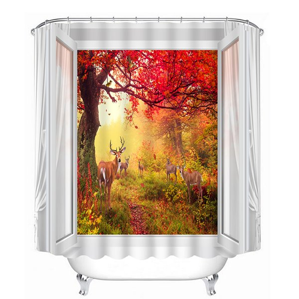 Magic Red Tree and Lovely Deer Print 3D Bathroom Shower Curtain