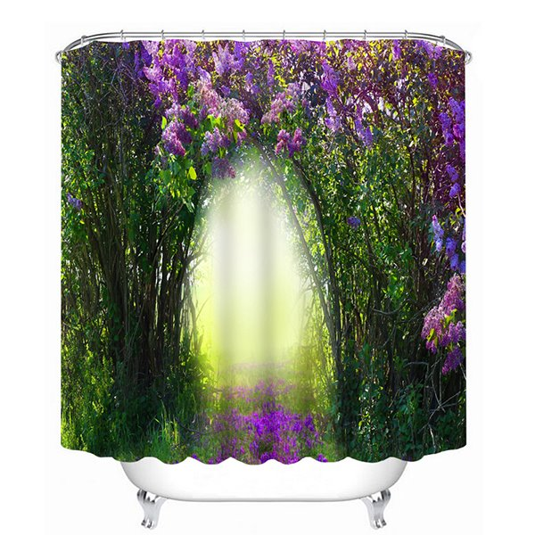 Decorative Purple Flowers and Green Trees Print 3D Bathroom Shower Curtain