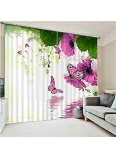 Purple Flowers and Colored Butterfies Print 3D Blackout Curtain