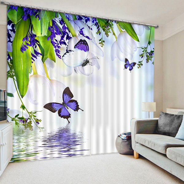 3D Purple Butterflies and Flowers Printed Animal Style Decoration and Blackout Curtain