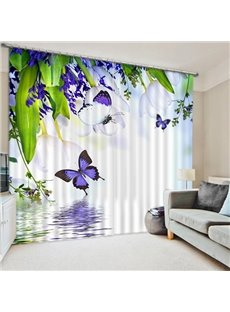 3D Purple Butterflies and Flowers Printed Pastoral Decoration Custom Curtain