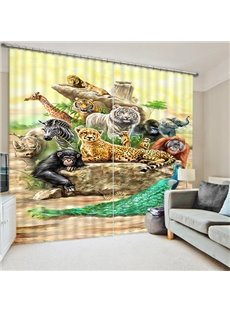 Chic Animals Print 3D Blackout Curtain