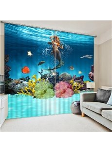 Beautiful Mermaid Swimming Print 3D Blackout Curtain