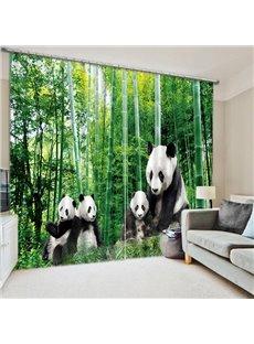 Cute Panda Family Playing Printing 3D Curtain