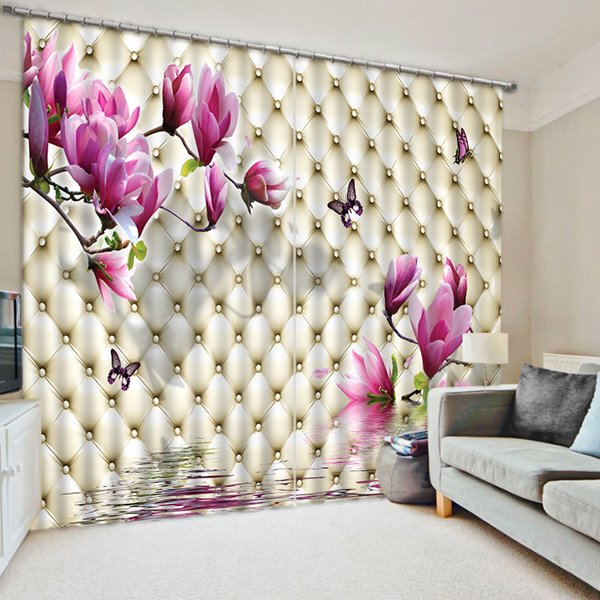 Impressive Pink Flowers and Butterfly Print 3D Blackout Curtain