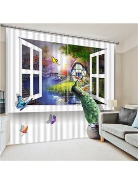 A Peacock Standing in the Window Print 3D Blackout Curtain