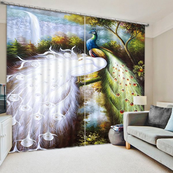 3D Elegant Couple White and Colorful Peacocks Printed 2 Panels Natural Style Decorative and Blackout Curtain