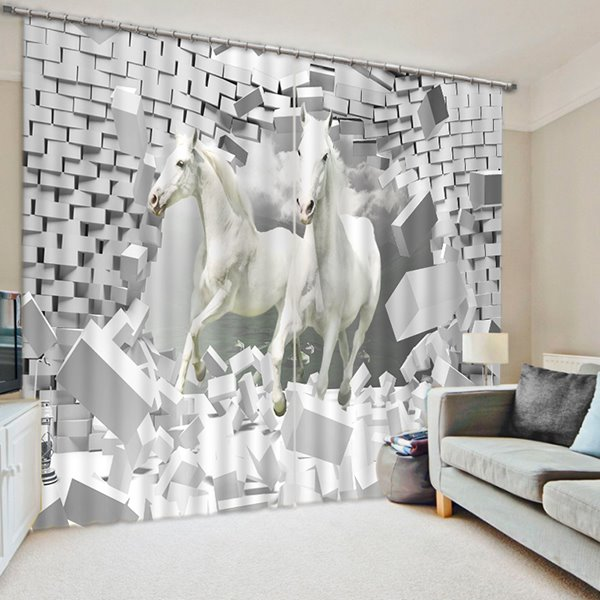 3D White Horses Breaking the Wall Printed Animal Style Decoration and Blackout Polyester Curtain