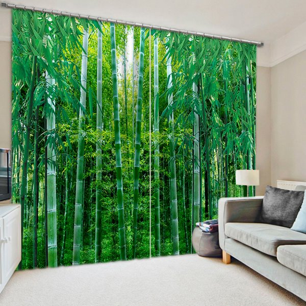 Lovely 75 3D Flourishing Green Bamboos Printed Natural Scenery Blackout Custom  Curtain For Living Room
