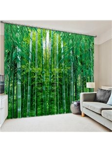 Green Bamboo Forest Print 3D Curtain