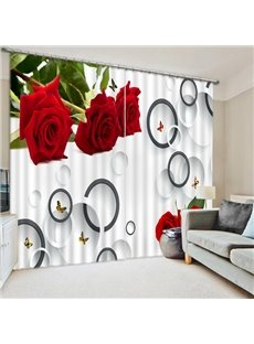 Concise Red Roses and Circles Print 3D Blackout Curtain