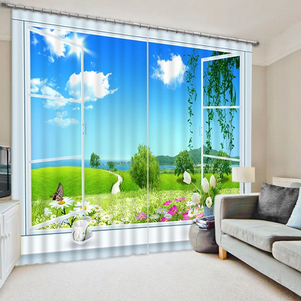 Beautiful Nature Scenery out of the Window Print 3D Blackout Curtain
