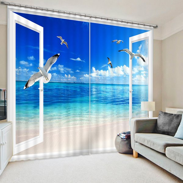 3D Seaside and Blue Sky with Flying Seagulls Printed Natural Scenery Custom Curtain