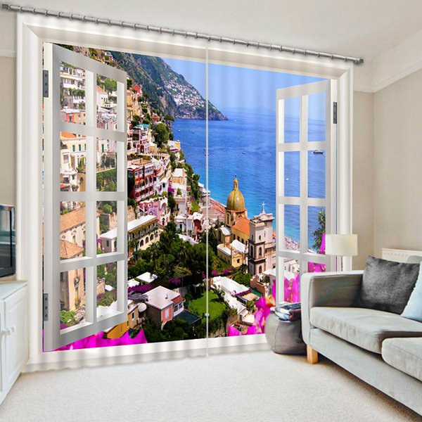 European Town Scenery Out Window Print 3d Blackout Curtain Pic