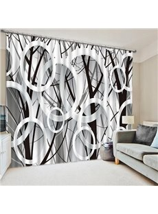 Concise Black and White Circles Print Post Modern 3D Blackout Curtain