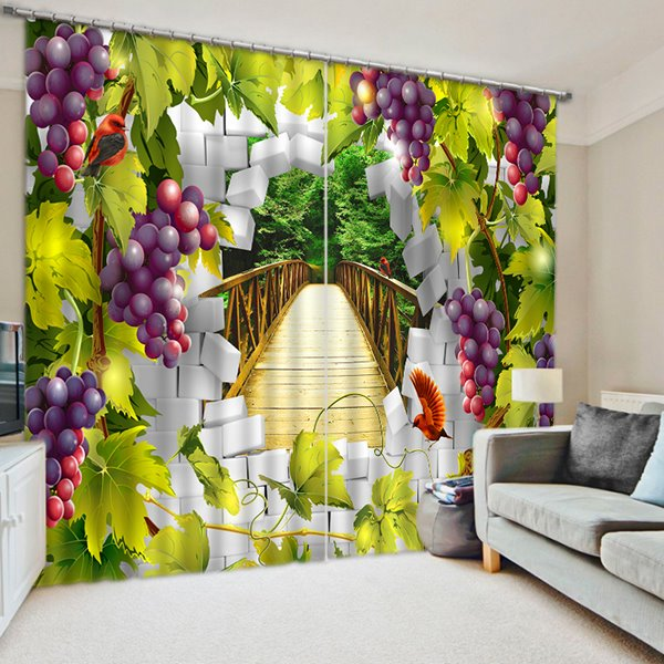 Purple Grapes Vine Print 3D Blackout Curtain