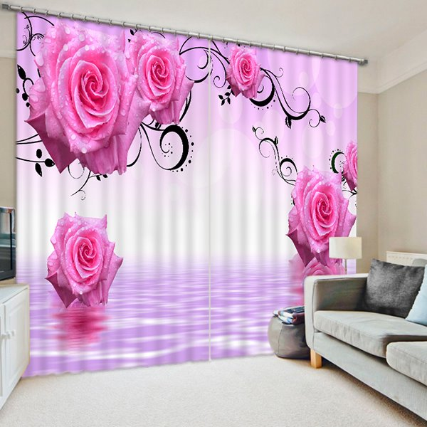 Romantic Pink Roses Printed Custom 3D Curtain for Living Room