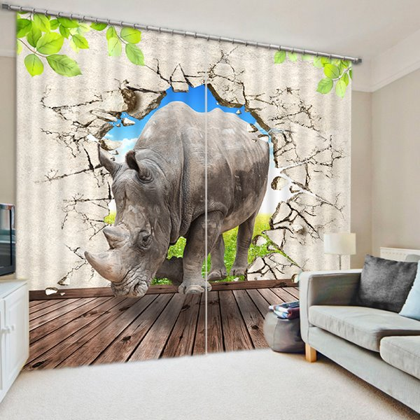3D Strong Rhino Breaking the Wall Printed Thick Polyester Study Room Blackout Curtain