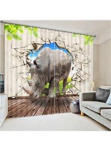 Rhino Breaking the Wall Print 3D Blackout Curtain