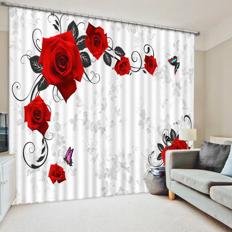 3D Beautiful Red Rose and Butterflies Printed Polyester Floral Scenery 2 Panels Custom Curtain