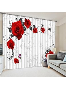 Elegant Red Roses and Butterfly Printing 3D Curtain