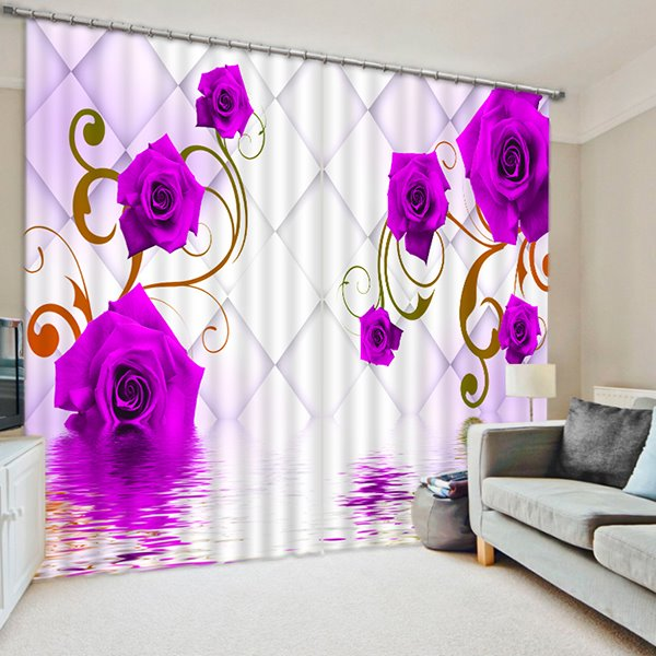 Romantic Beautiful Purple Roses Printed Custom Living Room 3D Curtain