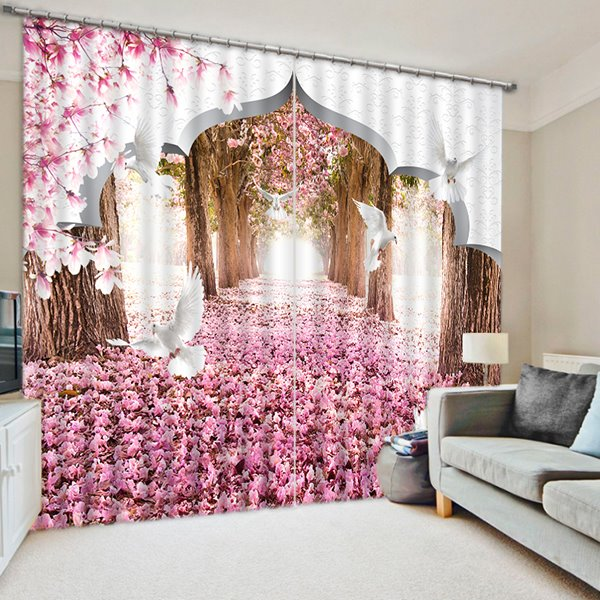 The Forest of the Pink Print 3D Blackout Curtain