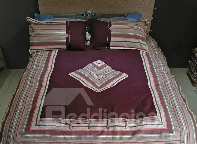 100% Cotton Chinese Style Purple 4-Piece Duvet Cover Sets