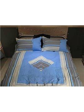 Special Design Rhombus Sky Blue Cotton 4-Piece Duvet Cover Sets
