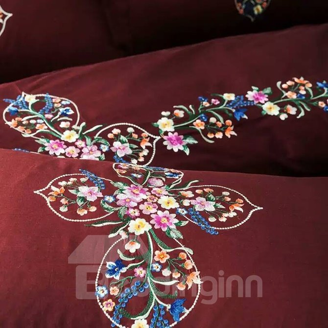 Charming Flower Rattan Design Magenta 4-Piece Active Print Bedding Sets