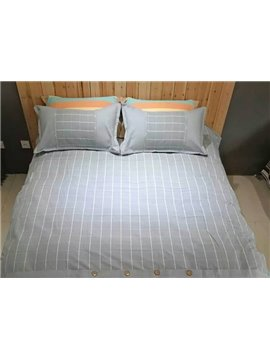 Pure Cotton Concise Plaid Design 4-Piece Duvet Cover Sets