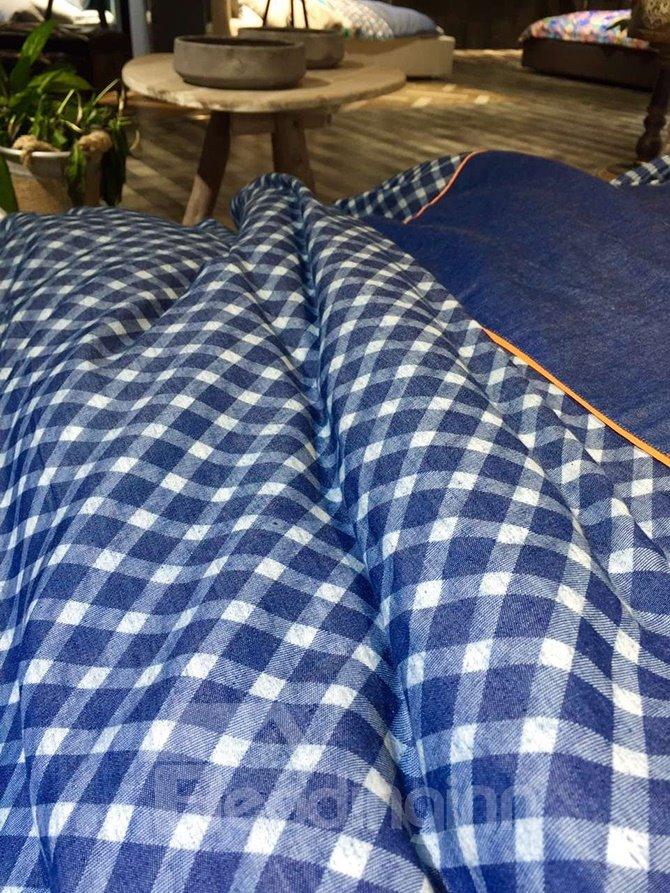 Simple Design Blue Cotton 5-Piece Duvet Cover Sets