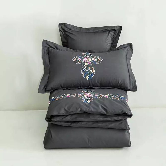 Luxury Style Flower Rattan Design Gray Cotton 4-Piece Bedding Sets/Duvet Cover