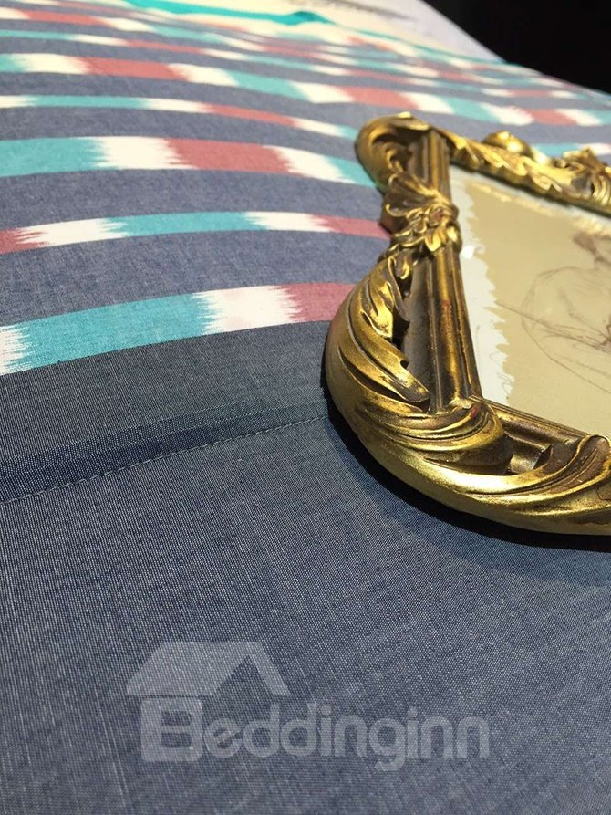 Classic Design Vibrant Line Print Cotton 5-Piece Duvet Cover Sets