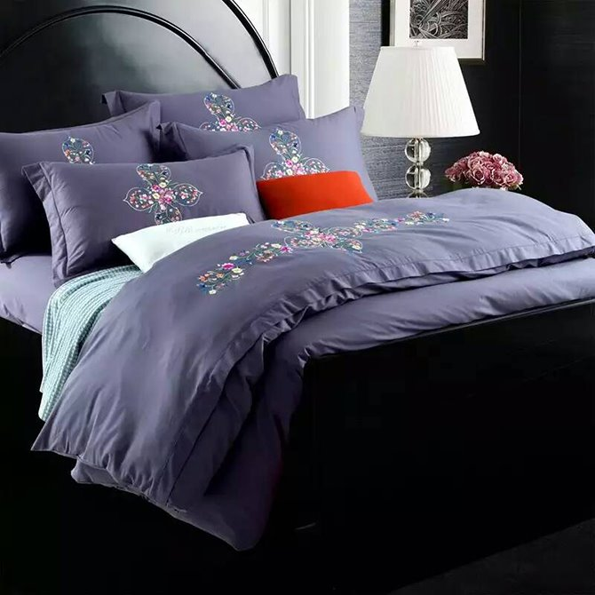 Chic Flower Rattan Design Purple 4-Piece 100% Cotton Duvet Cover Sets