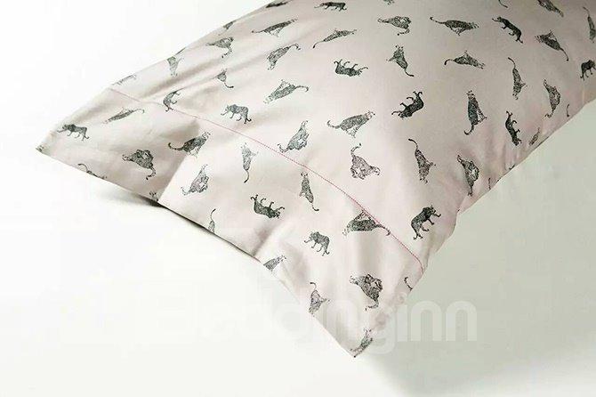 Unique Design Brown 4-Piece Active Print Cotton Bedding Sets
