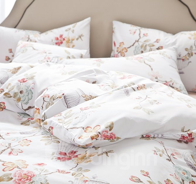 Graceful Flowers and Butterflies Print Cotton 4-Piece Duvet Cover Sets