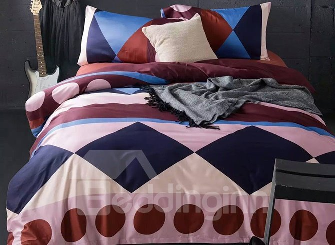 Concise Design Rhombuses and Dots Cotton 4-Piece Duvet Cover Sets