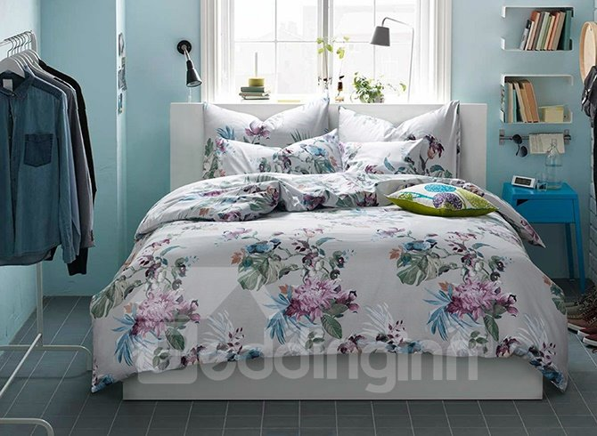 Fresh Glamorous Flowers Cotton 4-Piece Duvet Cover Sets