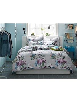 Fresh Glamorous Flowers Cotton 4-Piece Duvet Cover Sets