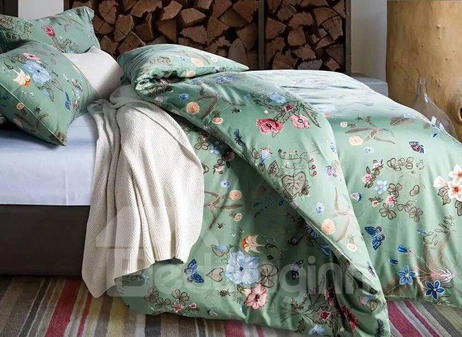 Fresh Style Wonderful Flowers Green Cotton 4-Piece Duvet Cover Sets