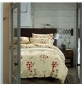 Country Style Lovely Flower Print 4-Piece Cotton Duvet Cover Sets