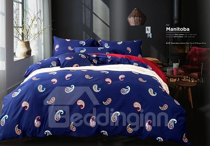 High Quality 4 Piece Modern Paisley Blue Duvet Cover Sets