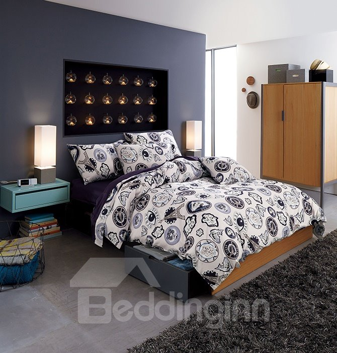 High Class Individual Tower Pattern 4-Piece Cotton Duvet Cover Sets