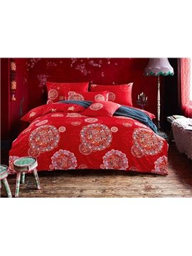 New Arrival Noble Red Medallion 4-Piece Cotton Duvet Cover Sets