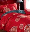 New Arrival Noble Red Medallion 4-Piece Cotton Duvet Cover Sets