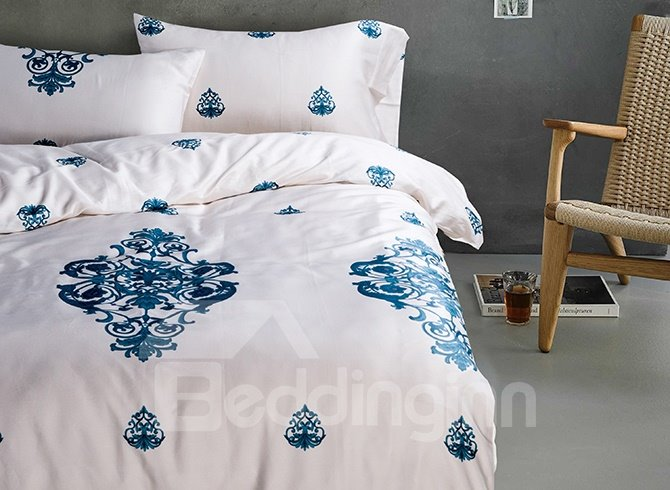 Country Rustic Style White 4-Piece Cotton Duvet Cover Sets